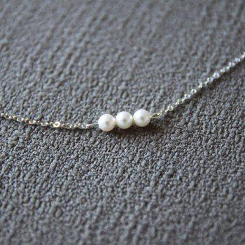 Alloy Faux Pearl Embellished Pendant Necklace - AS THE PICTURE