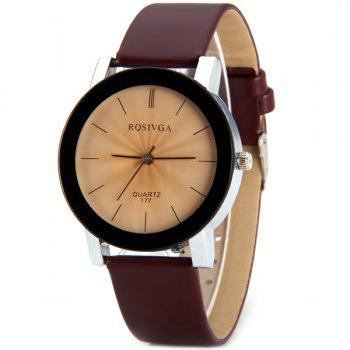 Rosivga 177 Genuine Quartz Watch with Stripes Indicate and Leather Watchband for Women