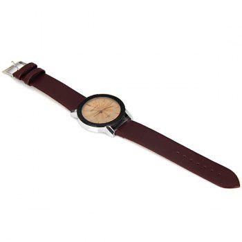 Rosivga 177 Genuine Quartz Watch with Stripes Indicate and Leather Watchband for Women - DEEP BROWN