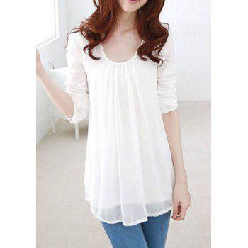 Casual Style Scoop Collar Chiffon Splicing Long Sleeve T-Shirt For Women - WHITE WHITE