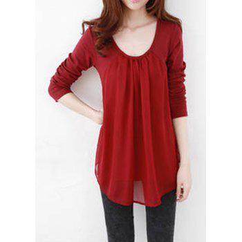 Casual Style Scoop Collar Chiffon Splicing Long Sleeve T-Shirt For Women - WINE RED XL