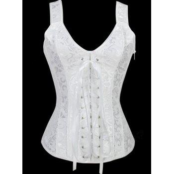 Lace Up V Neck Corset - WHITE L