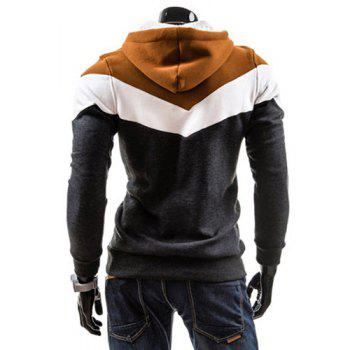 Slimming Trendy Hooded Personality Color Splicing Long Sleeves Men's Thicken Hoodies - DEEP GRAY DEEP GRAY