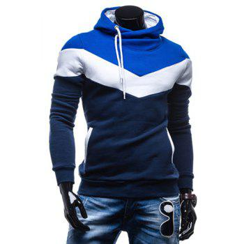 Slimming Trendy Hooded Personality Color Splicing Long Sleeves Men's Thicken Hoodies - CADETBLUE M