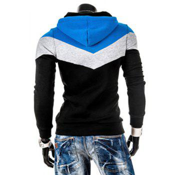 Slimming Trendy Hooded Personality Color Splicing Long Sleeves Men's Thicken Hoodies - BLACK BLACK