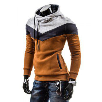 Slimming Trendy Hooded Personality Color Splicing Long Sleeves Men's Thicken Hoodies - CAMEL CAMEL