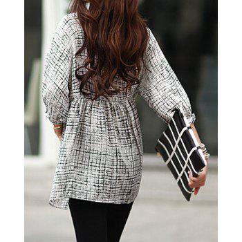 Trendy Style Scoop Collar Abstract Print 3/4 Sleeve T-Shirt For Women - WHITE WHITE