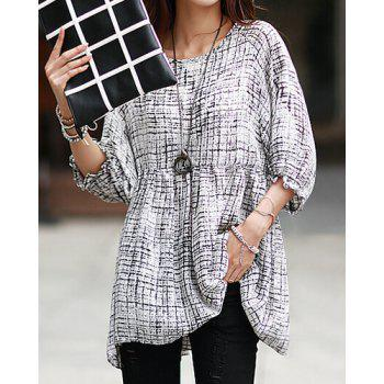 Trendy Style Scoop Collar Abstract Print 3/4 Sleeve T-Shirt For Women - ONE SIZE ONE SIZE