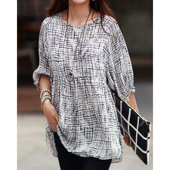 Trendy Style Scoop Collar Abstract Print 3/4 Sleeve T-Shirt For Women - WHITE ONE SIZE