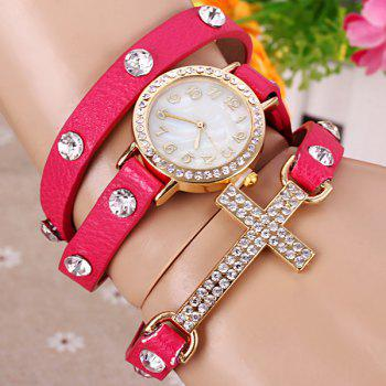 Quartz Wrist Watch Cross Diamond Round Dial Leather watchband for Women