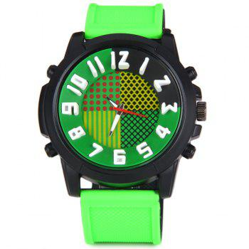 QF A1668 Cool Quartz Watch with Stereo Arabic Numerals Indicate and Rubber Watch Band for Men - GREEN