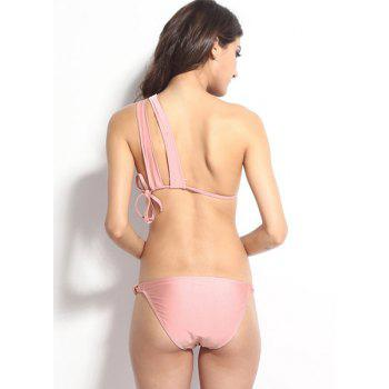 Sexy Solid Color One-Shoulder Hollow Out Bikini Set For Women - PINK S
