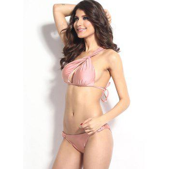 Sexy Solid Color One-Shoulder Hollow Out Bikini Set For Women - PINK PINK