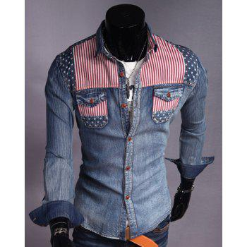 Casual Style Color Block Stripes Print Slimming Turn-down Collar Long Sleeves Men's Denim Shirt