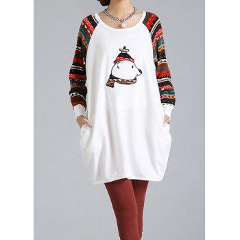 Side Pockets Design Bear Print Long Sleeve Round Collar Plus Size T-Shirt