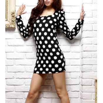Polka Dot Print Long Sleeve Square Collar Packet Buttock Pullover Dress