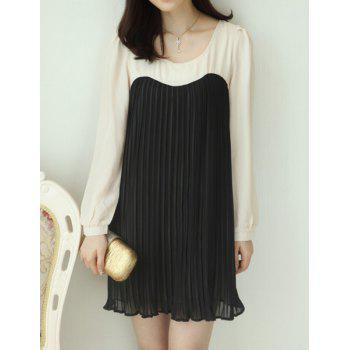 Ladylike Pleated Long Sleeve Scoop Neck Packet Buttock Color Block Dress