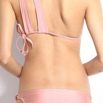 Sexy Solid Color One-Shoulder Hollow Out Bikini Set For Women - PINK M