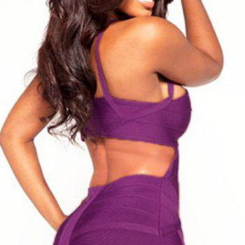 Stylish Spaghetti Strap Solid Color Backless Bandage Dress For Women - PURPLE M