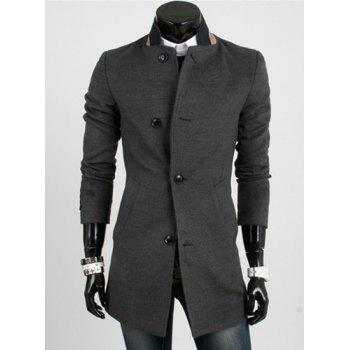 Casual Style Slimming Long Sleeves Stand Collar Color Block Single-Breasted Men's Woolen Trench Coat - DEEP GRAY DEEP GRAY