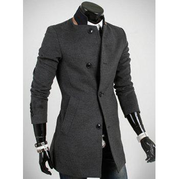 Casual Style Slimming Long Sleeves Stand Collar Color Block Single-Breasted Men's Woolen Trench Coat - DEEP GRAY 2XL