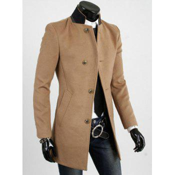 Casual Style Slimming Long Sleeves Stand Collar Color Block Single-Breasted Men's Woolen Trench Coat - YELLOW YELLOW