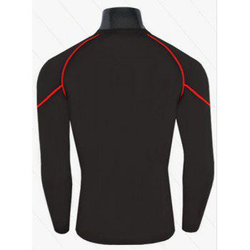 Active Style Slimming Long Sleeves Round Neck Quick-Dry Logo Print Close-Fitting Polyline Design Men's Cotton Blend T-Shirt - RED/BLACK 2XL