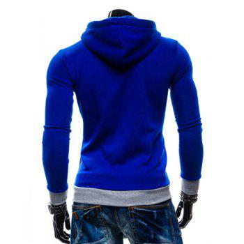 Casual Style Slimming Hooded Zipper Embellished Color Splicing Long Sleeves Men's Thicken Cotton Blend Sport Coat - SAPPHIRE BLUE SAPPHIRE BLUE