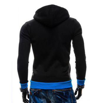 Casual Style Slimming Hooded Zipper Embellished Color Splicing Long Sleeves Men's Thicken Cotton Blend Sport Coat - BLACK M