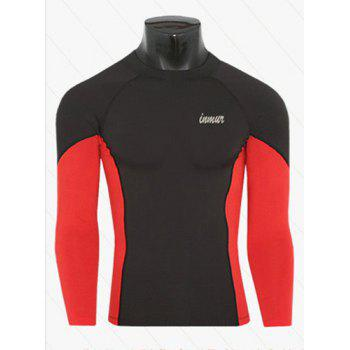 Active Style Slimming Long Sleeves Round Neck Logo Print Quick-Dry Close-Fitting Color Block Men's Cotton Blend T-Shirt - RED WITH BLACK RED/BLACK