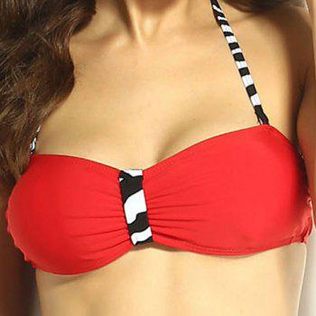 High Waisted Women's Charming Six Buttons Zebra-Stripe Swimsuit - RED S