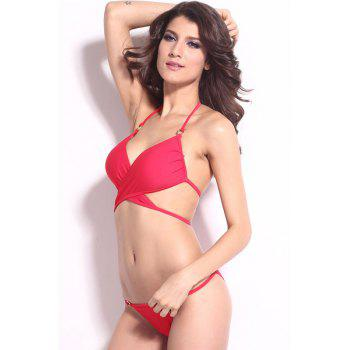 Sexy Solid Color Halter Bikini Set For Women - RED M