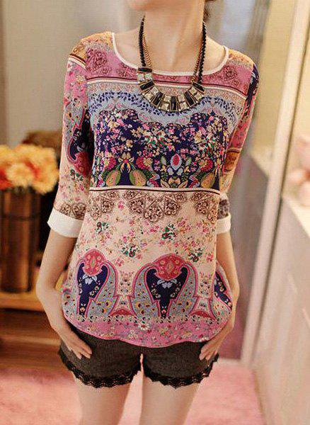 Scoop Collar 3/4 Sleeve Retro Print Ethnic Style Women's T-Shirt - PLUM XL