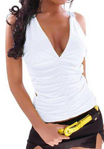 Sexy Sleeveless Plunging Neck Hollow Out Women's Tank Top - WHITE ONE SIZE