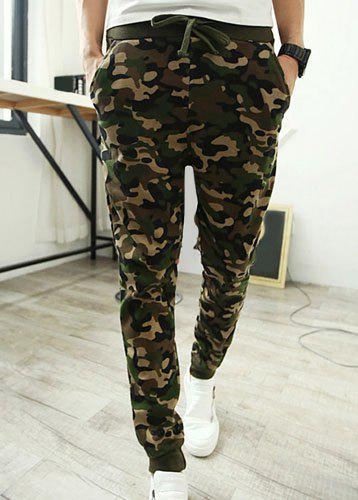 Camouflage Style Lace-Up Slimming Elastic Cuffs Narrow Feet Men's Cotton Blend Harem Long Pants - CAMOUFLAGE L