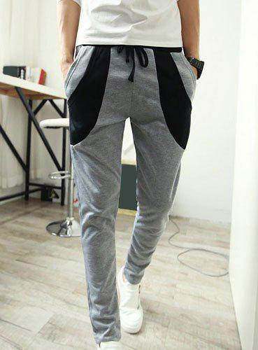 Slimming Trendy Lace-Up Color Block Splicing Narrow Feet Men's Cotton Blend Harem Pants - LIGHT GRAY M