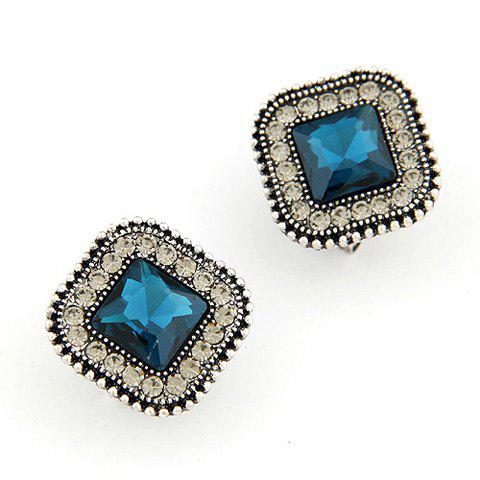Pair of Delicate Chic Rhinestone Gem Inlaid Square Earrings For Women - BLUE