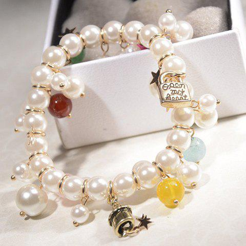 Faux Pearl Bell Lock Multielement Bracelet -  AS THE PICTURE