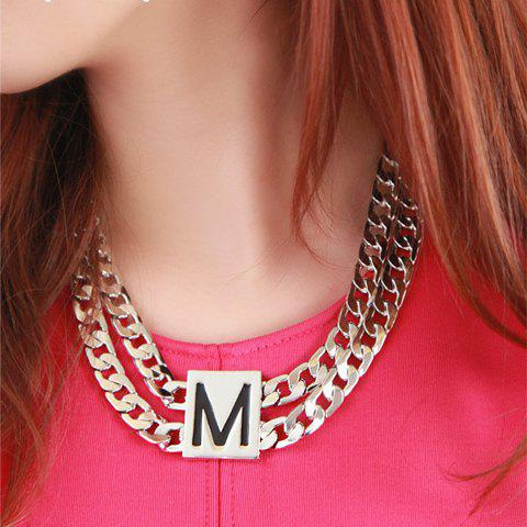 Stylish Chic Letter Pendant Wide Link Necklace For Women - AS THE PICTURE