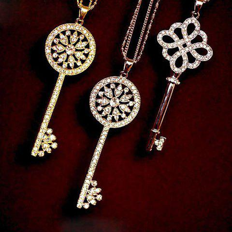 One Piece of Chic Heart Rhinestone Key Pendant Sweater Chain Necklace For Women