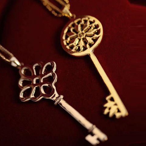 One Piece of Stylish Chic Heart Rhinestone Key Pendant Sweater Chain Necklace For Women - RANDOM COLOR PATTERN