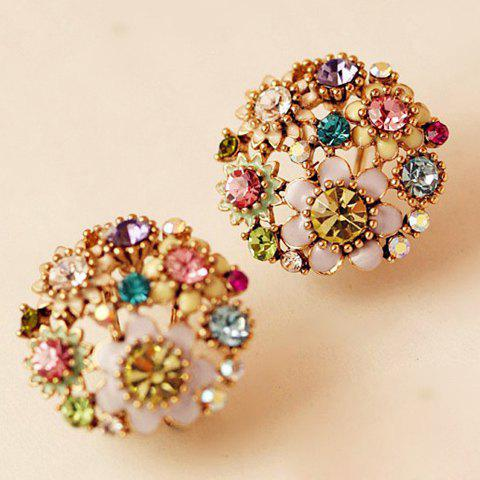 Pair of Delicate Rhinestone Colored Flower Earrings For Women