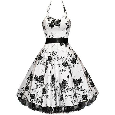Vintage Halterneck Floral Print Sleeveless Pleated Country Western Dresses For Women - AS THE PICTURE S