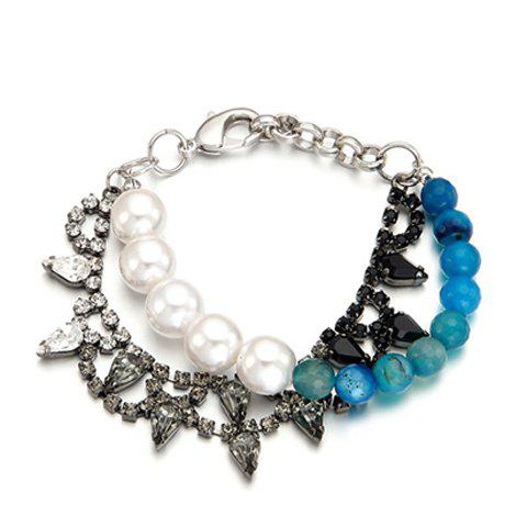 Sweet Cute Rhinestone Pearl Agate Bracelet For Women - BLUE