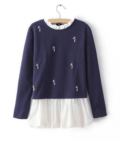 Diamante Splicing Stand Collar Long Sleeve Stylish Women's Sweatshirt - BLUE M