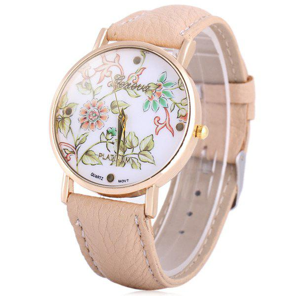 Geneva Quartz Watch Golden Plate Analog Indicate Leather Watch Band Flower Pattern for Women - KHAKI