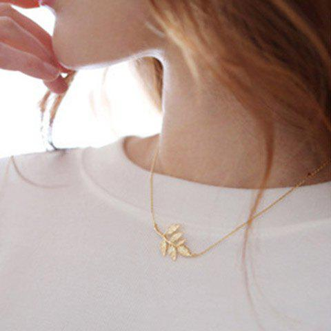 Chic Small Leaf Shaped Pendant Necklace For Women - GOLDEN