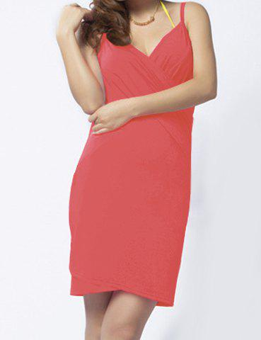 Sexy Style Spaghetti Straps Solid Color Backless Women's Dress