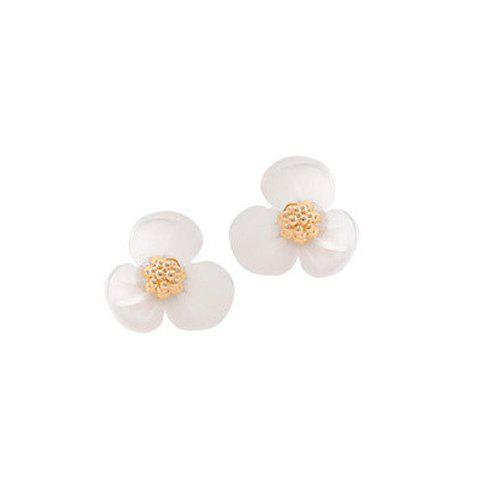 Pair of Sweet Cute Three Petals Flower Earrings For Women - AS THE PICTURE
