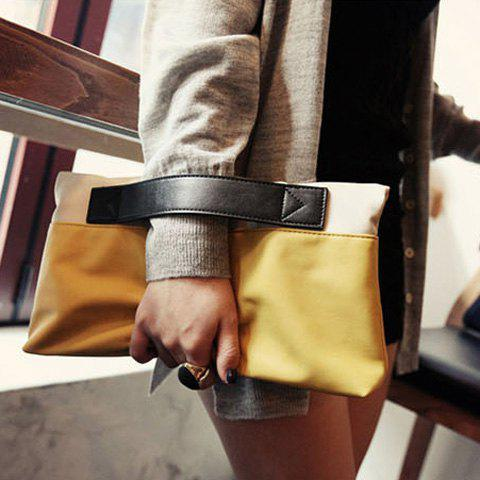 Fashion Color Block Design Clutch For Women - YELLOW